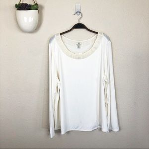 •J.JILL• Ivory Long Sleeve Stretch Top w/Silk Trim